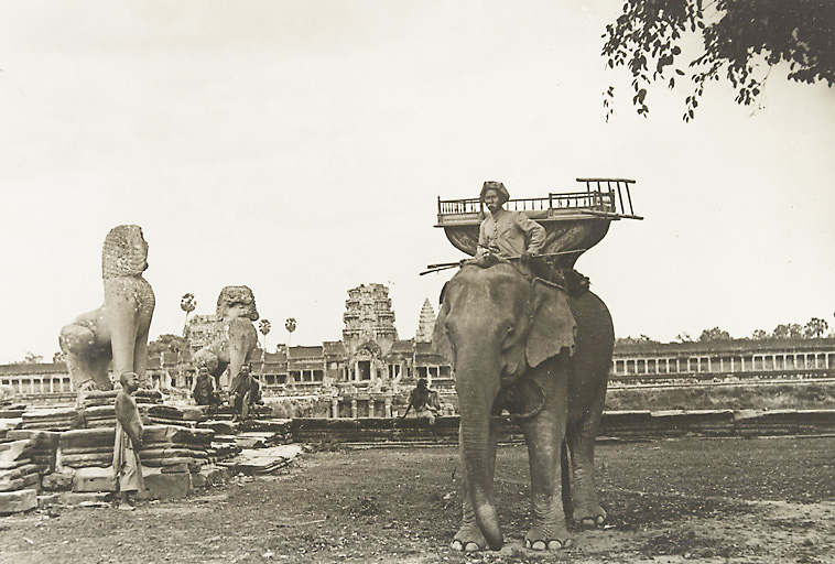 Elephant at Angkor Wat - Picture taken between 1919 and 1926