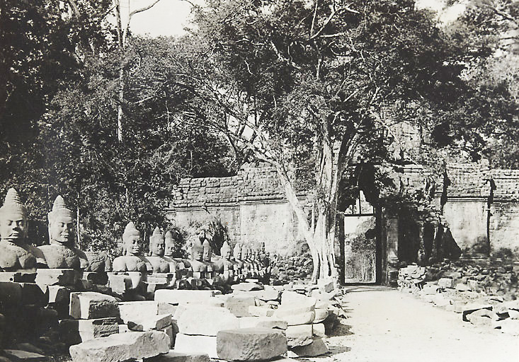 Historic picture of the South Gate to Angkor Thom