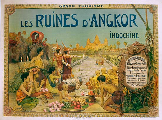 Les ruines d'Angkor vintage travel poster