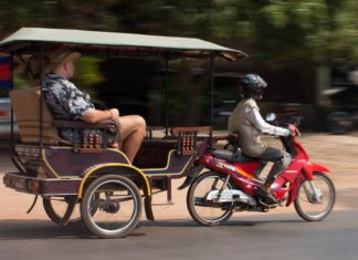 getting around the Angkor Archaeological Park by tuk-tuk