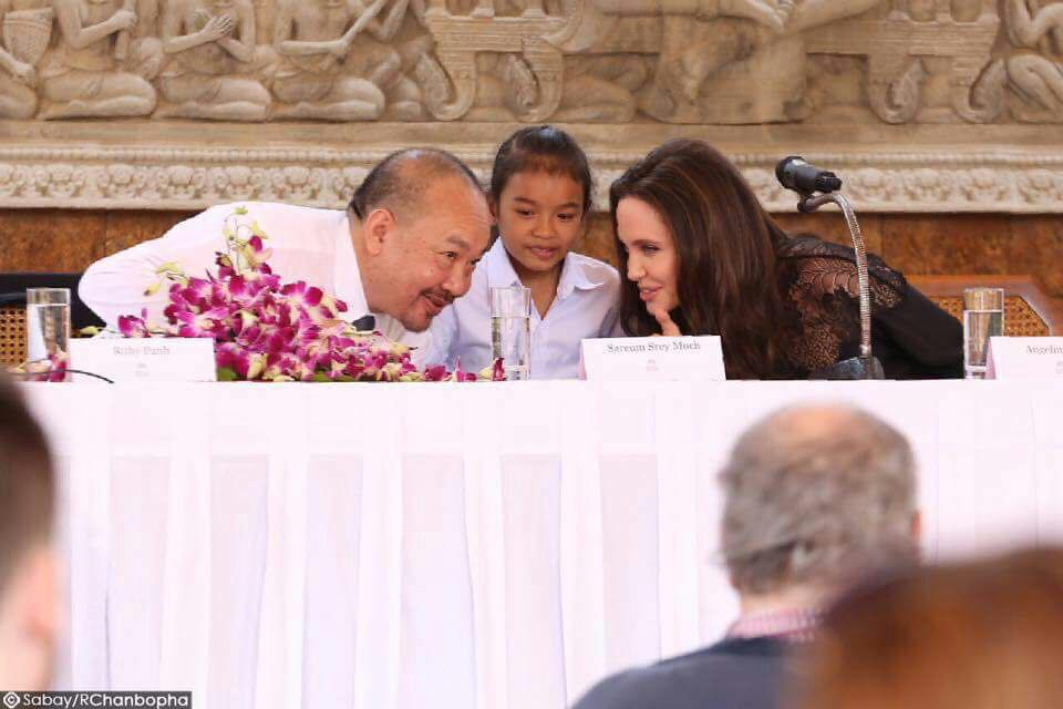 Angelina Jolie and Rithy Panh at the press conference for First They Killed My Father