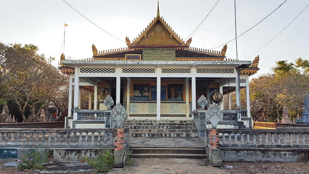Modern pagoda on top of Phnom krom Mountain