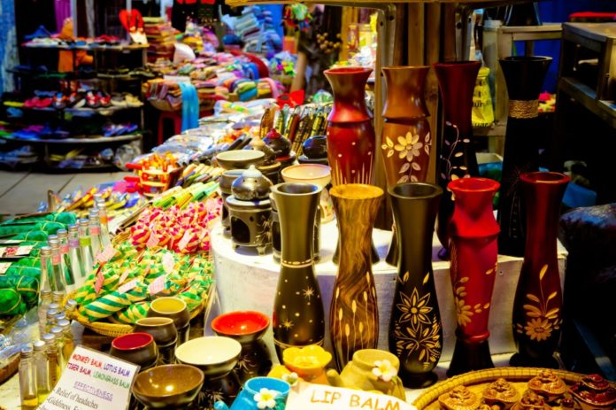 Souvenir shopping at Angkor Night Market in Siem Reap, Cambodia