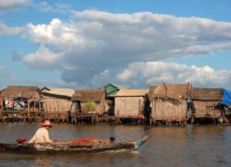 Exploring a floating village on Tonle Sap Lake by boat
