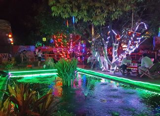 Bright lights at a typical Siem Reap beergarden