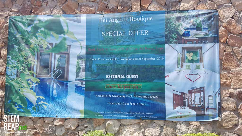 Swimming pool advertisement at Rei Angkor Boutique Hotel