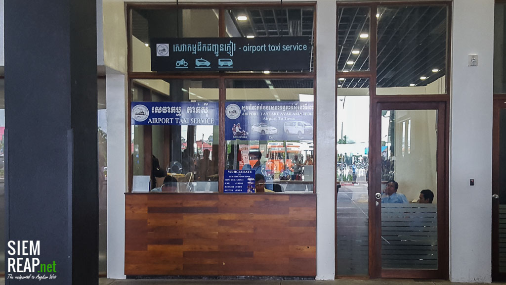 official taxi desk at Siem Reap international airport