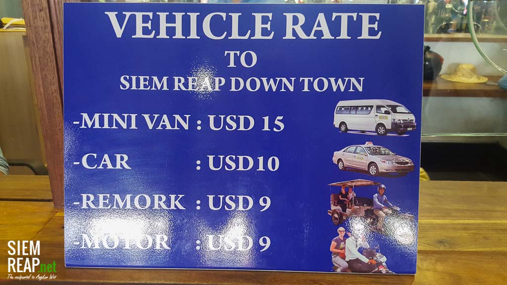 transport from airport to Siem Reap pricelist - daytime