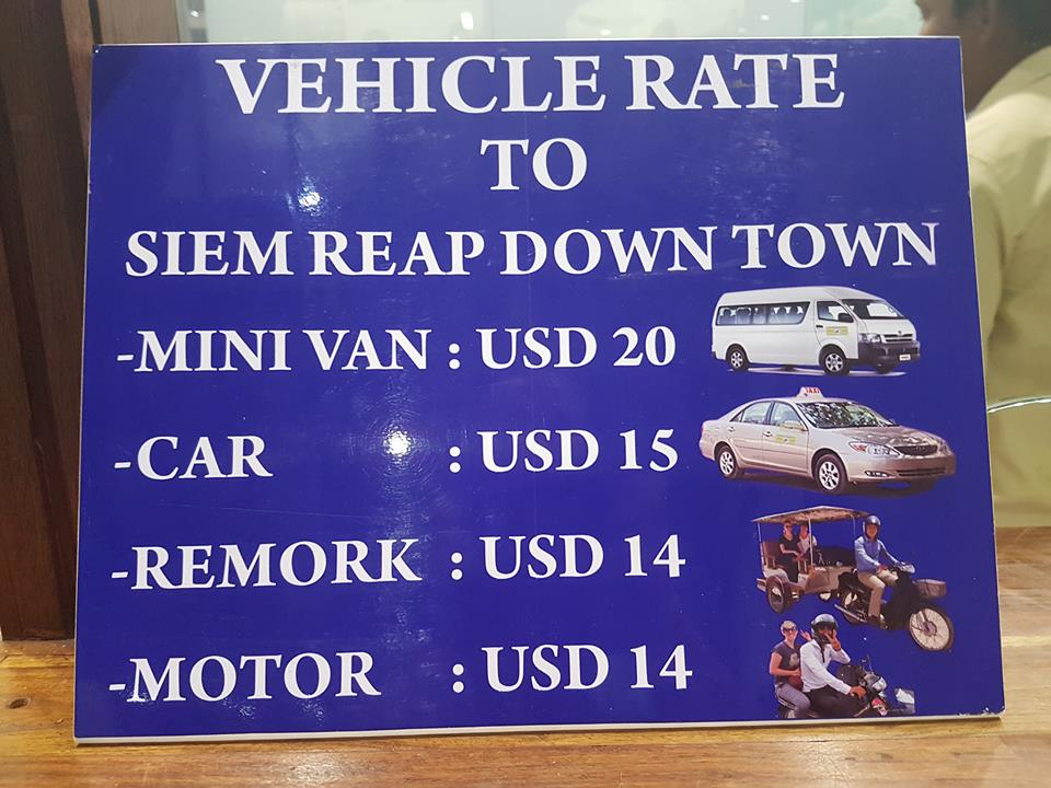 transport from airport to Siem Reap pricelist - nighttime