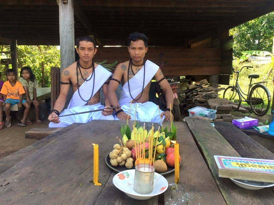 a traditional Khmer Sak Yant tattoo process requires a blessing with 7 types of fruit, flowers and incense.
